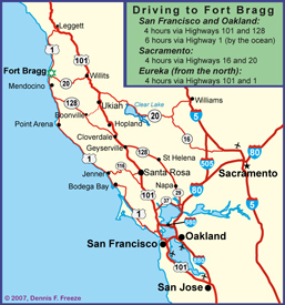 Driving Map for Mendocino Coast