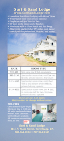 Surf and Sand Lodge Rack Card (Back)
