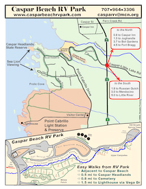 Property Map for Caspar Beach RV Park and Campground