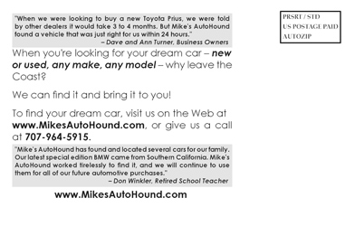 Postcard for Mike's Auto Hound (Back)