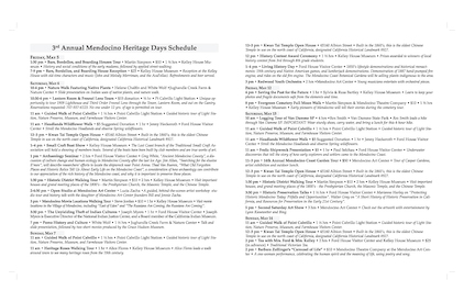 Brochure for Mendocino Heritage Days (Back)