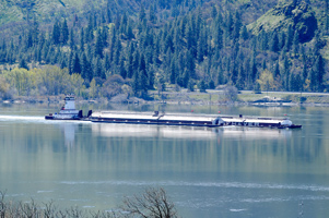 Barge pushes cargo downstream