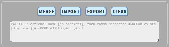 Merge, Import, Export, and Clear buttons with the text bugger.