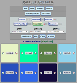 Overview screenshot showing main commands and colors in a palette.