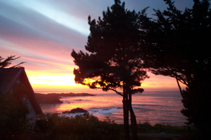 Sunset on Christmas Day at Agate Cove Inn, Mendocino